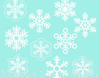 Snowflake Clipart, Fun Pretty Clipart, Winter, Snow Instant Download, Personal and Commercial Use Clipart, Digital Clip Art
