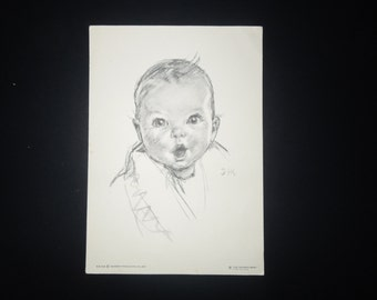 """Vintage 5x7"""" Print - The Gerber Baby Copyright 1931 signed DHS (Dorothy Hope Smith) 54-59"""