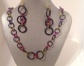 Colorful Chain Maille  Necklace And Earrings