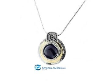 Silver Onyx necklace, Black Gold Onyx pendant, Black gemstone necklace,  black necklace, Gold black necklace,Bridesmaid necklace, handmade