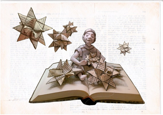 Christmas card: Froebel star (with envelope from book pages)