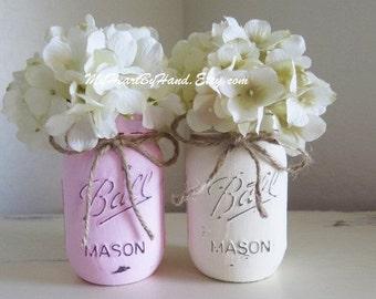 Distressed Mason Jars, Painted Mason Jars, Mason Jar Vases, Teal And Gray, Country Decor, Teal photo - 2
