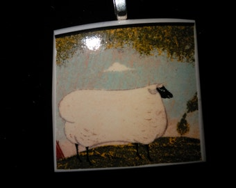 Porcelain Pendant with Sheep