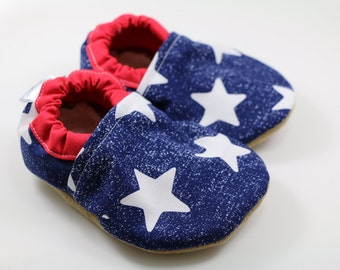 Star baby shoes boy baby booties girl soft sole baby shoes toddler shoes crib shoes fourth of july baby shoes starstruck tula accessories