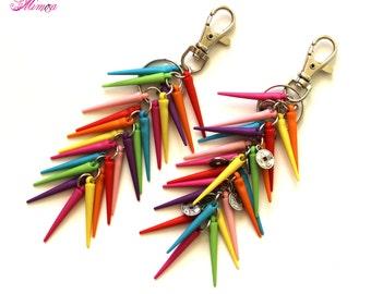 Colorful Spikes Keychain, Spike Bag Charm, Gypsy Keychain, Colorful Bag Charm, Purse Charm, Bags Accessory, Spikes Keyring, Hippie Keychain