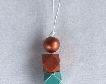 Geometric wooden bead necklace // turquiose and aqua // hand painted