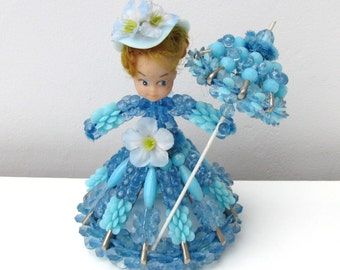 Vintage 1960s Pinflair Beaded Doll Kitsch Retro Cute Ornament