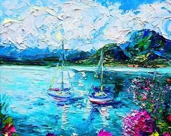 ABSTRACT PAINTING Bright Colorful Blue Abstract Art, Modern Art Canvas Painting, Original Oil Painting, Boats, Wall Art Home Decor Home Gift