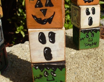 Set of 4 Primitive Halloween Letter Block Tower. Primitive Decor. Halloween Decor. Repurposed Blocks. Pumpkin Ghost Frankenstein Blocks.
