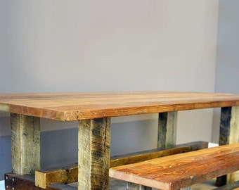 Farm Table /  Table Bench Combination  - Fast Shipping! - Made From Reclaimed Barn Wood