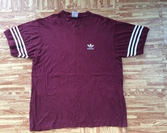 vintage adidas trefoil t shirt v neck ring made in canada