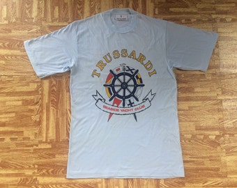 vintage mint 80s TRUSSARDI seaside yatch club t shirt medium made in italy