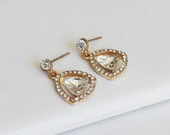 Simple Drop Earrings, CZ Diamonds Earrings