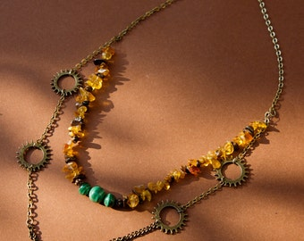 Amber necklace and malachite