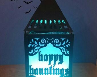 Led Halloween lantern lamp. Gothic glow nightlight.