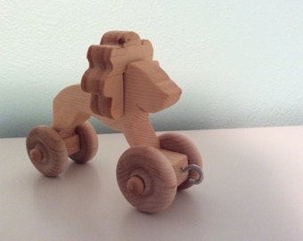 Handmade animal train wooden lion