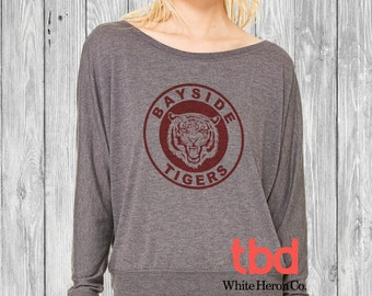 Bayside Tigers Long Sleeves Off Shoulder Tee For Womens (white marble tee saved by the bell inspired for mens womens Sweatshirt)