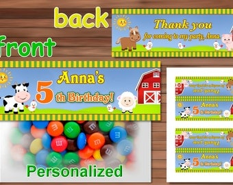 Farm Animals Favor Bag Toppers, Personalized Favor Bag Toppers, Printable PDF
