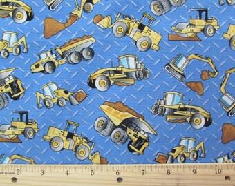 """18"""" Dump Truck, Grader, Front Loader on Medium Blue Background Fabric Remnant/Bolt End 1617"""