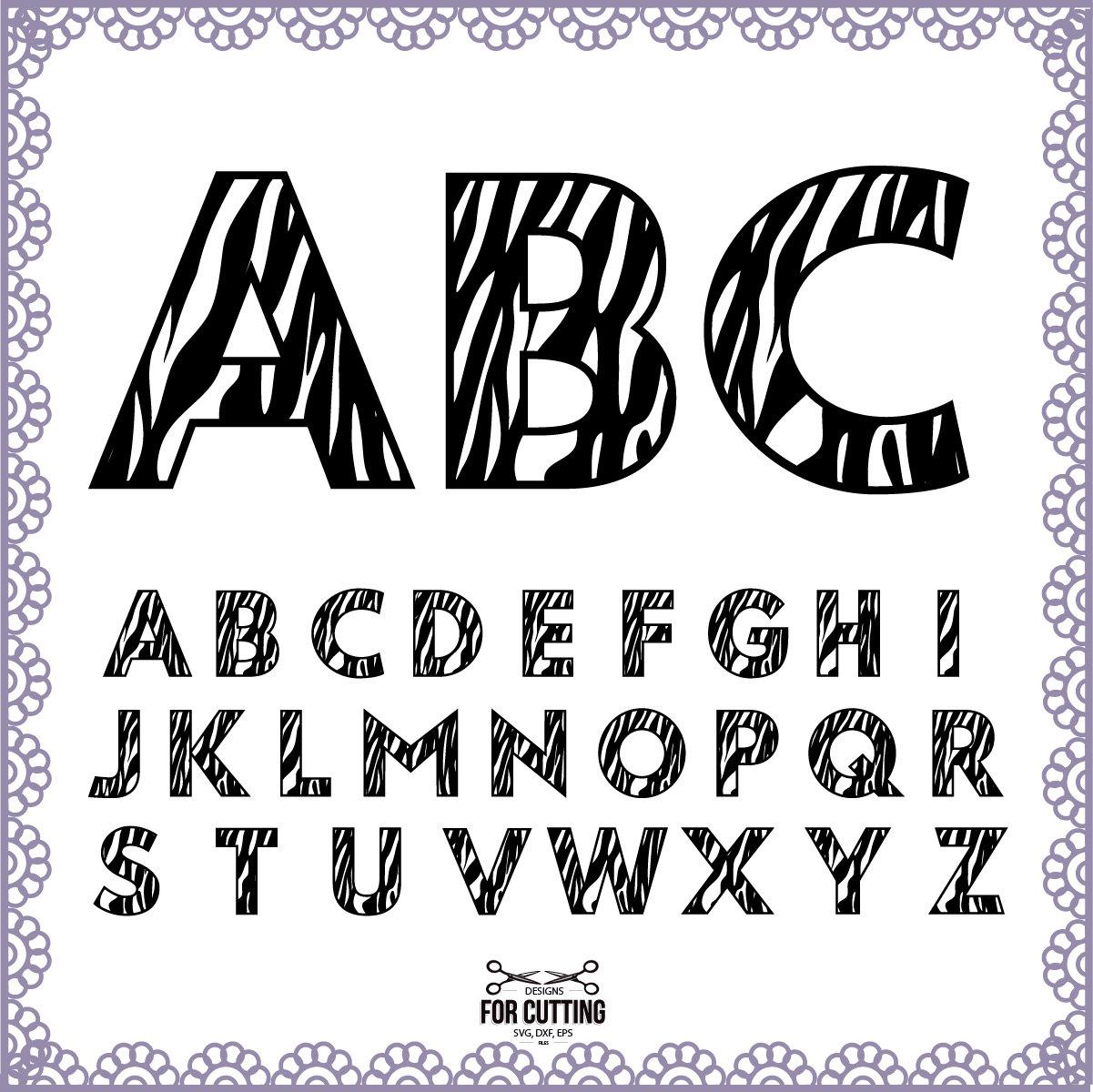 Zebra Alphabet Monogram Zebra font Cut Files Svg Eps Dxf. Zebra 0 Font