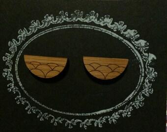 Laser Cut Bamboo 'Bubble Scallop' Stud Earrings