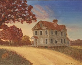 Farm House Cat autumn fall print cats abandoned overgrown home