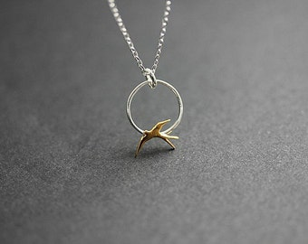 Two Tone Gold Silver bird necklace - Bird necklace in Sterling silver - Bird in circle necklace - Delicate necklace - Minimalist Jewelry