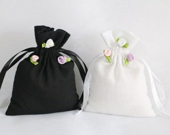 50pcs-Natural Black and White Cotton Bags Drawstring Promotional Muslin Bags Pouch Wedding Favor Gift Packaging Bag Jewelry Bag 120g/m2