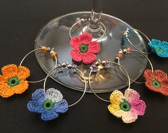 Crocheted flower wine charms