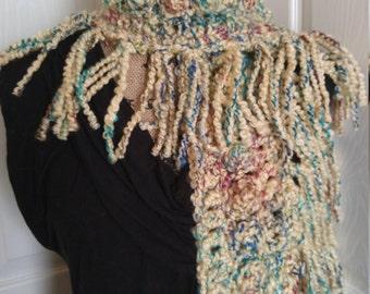 Accessories Soft Fringe Scarf, winter scarf, neckwarmer, handmade cowl