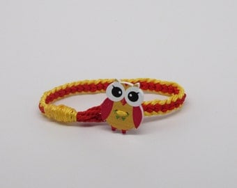 Children's owl bracelet: yellow and red