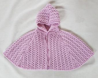 Hand-knitted Merino DK baby cape/poncho