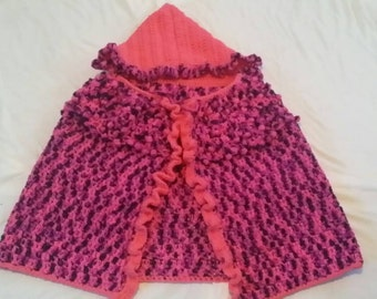 Berry hooded poncho