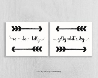 Woodland Art Set of 2 - Instant Download! - oo - de - lally golly what a day - arrows -  8 x 10 - Adventure Wall Art