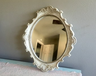 French country mirror cream shabby chic plaster universal statuary corps chicago, Ill mirror tray