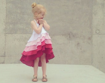 Girls Flamenco Party Dress in Pink Ombré