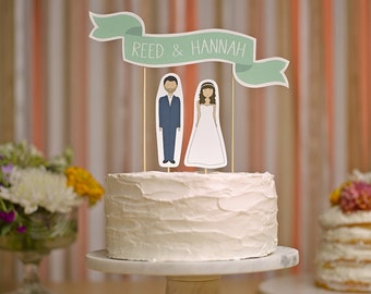 Wedding Cake Topper - Custom Names Cake Topper Banner No. 2 / Personalized Bride and Groom Cake Toppers