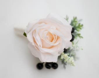 Wedding flowers, Rose Boutonniere, Ivory Boutonniere, Groom Groomsmen Wedding Flower, Fall Wedding, Rustic Wedding Boutonnieres