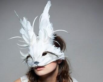 Luxury White Rabbit Mask, White Rabbit Headdress, Festival Mask, Feather Animal Mask, Alice Mask, Christmas Masquerade, Zootopia, Cosplay