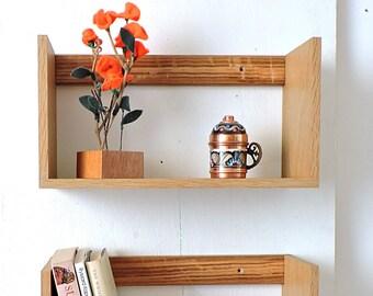 Set of 2 wall hanging oak shelfs,modern wooden bookcase, hanging modern furniture,unique wall hanging display,handmade modern wall shelf
