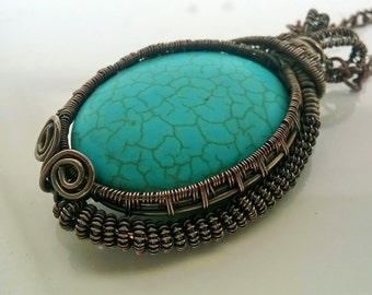 Huge Turquoise wire wrapped copper pendant necklace