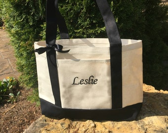 Canvas Boat Tote- Personalized Name Monogrammed- Black/Natural- monogram tote- Beach Tote- Lake Tote- Tote Bag