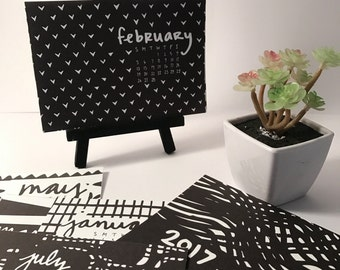 SALE 2017 Desk Calendar - Mini 2017 Desk Calendar with stand -  Monthly Calendar - 2017 calendar - B&W Pattern