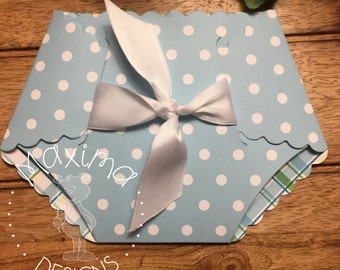Diaper, set of 10 , Diaper invitations, Baby shower