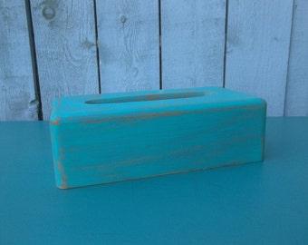 Kleenex Holder Shabby Chic Vintage Wood Teal Decor Chalk Paint Distressed Rustic Kleenex Box