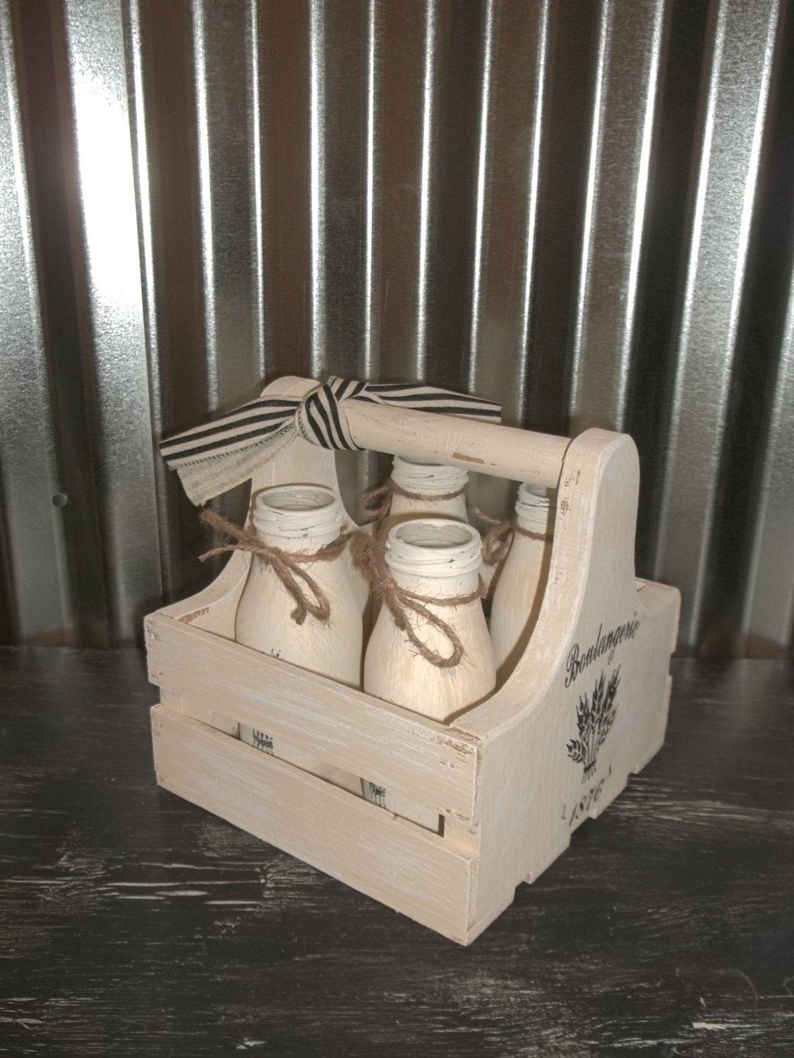 Wood crate basket shabby chic milk bottle by outofmyshabbymind for Where can i buy wooden milk crates