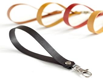 Leather Keychain, Black Leather Key Holder, Wrist Strap, Leather Keyring, Lanyard, Strap For Wristlet, Teacher Gift, Housewarming Gift, Hers