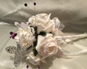 Flower girl wand Roses & Butterflies wedding flowers