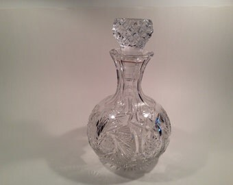 Vintage Czech Lead Crystal Decanter With Diamond Windmill Pattern And Hobnail Stopper Circa 1930's #278