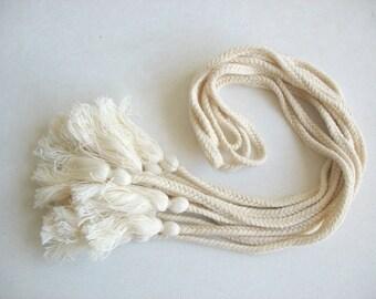 Dyeable Cotton Tassel  Cord Belt for Kids Kaftans Curtain Ties